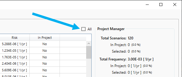 inFlux Risk Manager's Simulation Summary Select All Checkbox