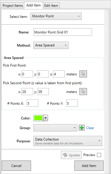Area Spaced Monitor Points