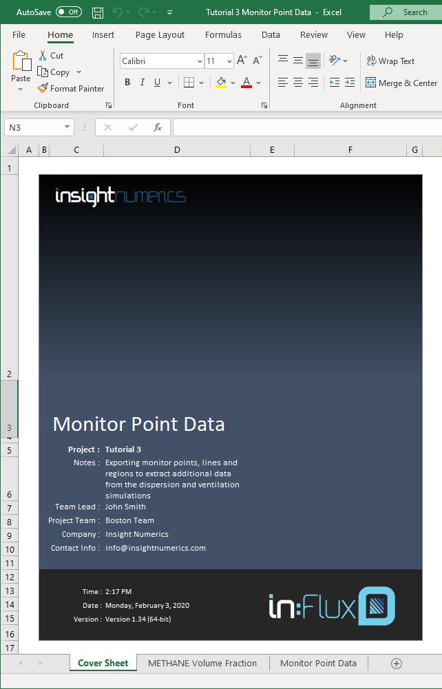 Screenshot of exported excel file from the monitor point data window